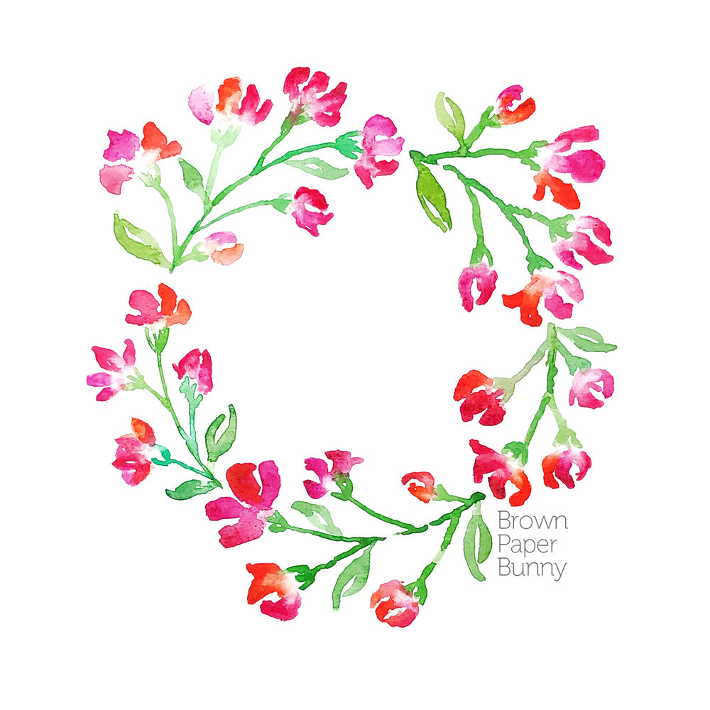 Watercolor floral wreath, commissioned piece.