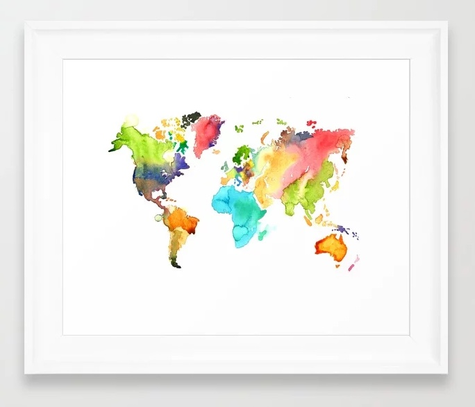 Watercolor World Map by Jessica Mack of BrownPaperBunny