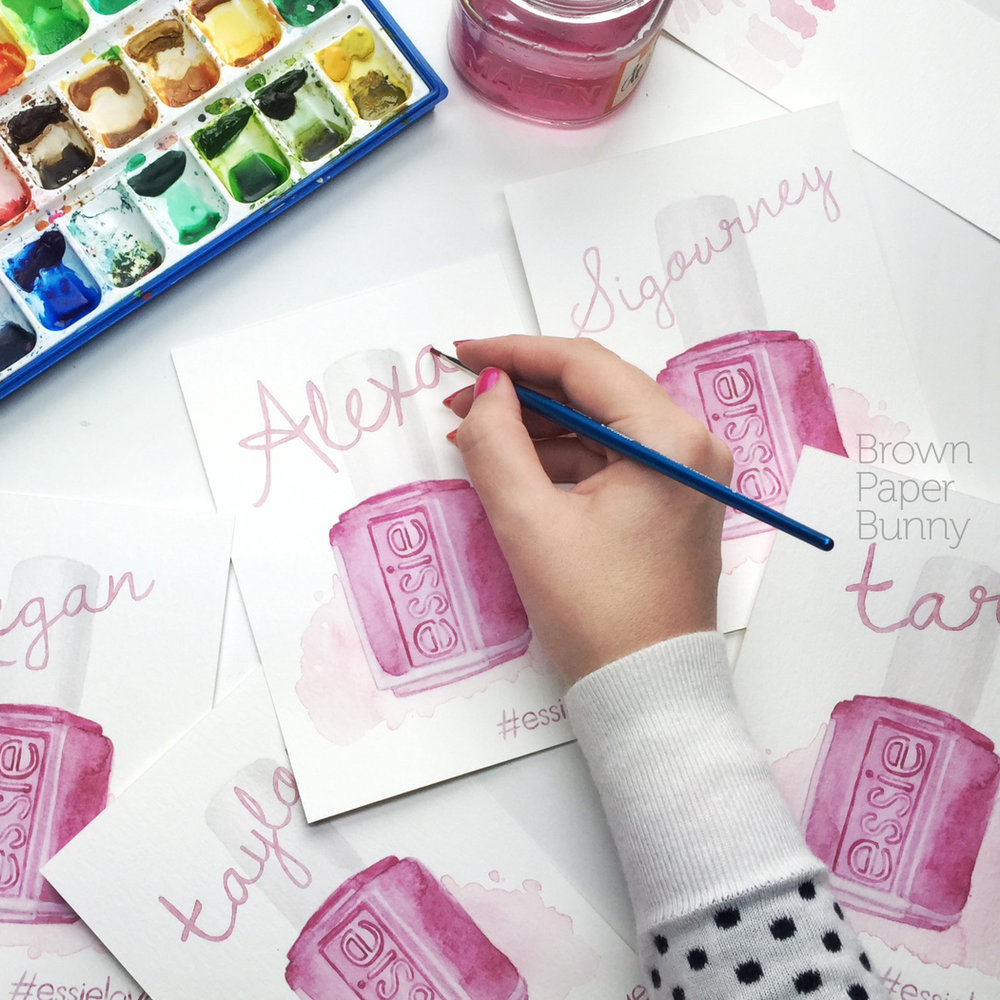 Watercolor lettering created on behalf of Essie