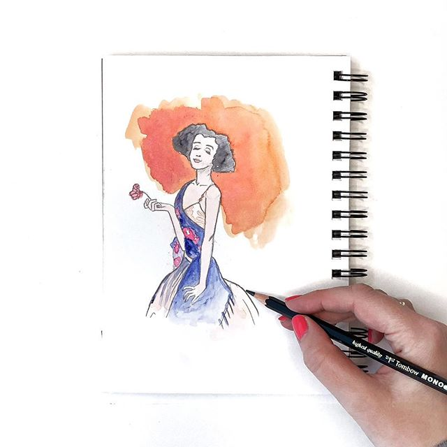 Sketched this from a painting I really liked at the @fryeartmuseum the other day, I just love her attitude. What do you suppose she's thinking? ⠀ ⠀ I used @artphilosophyco Classics Watercolor Confections set to add color. Use my code BrownPaperBunny15% to get a discount on your own watercolor set! http://bit.ly/wcsets (link in bio)