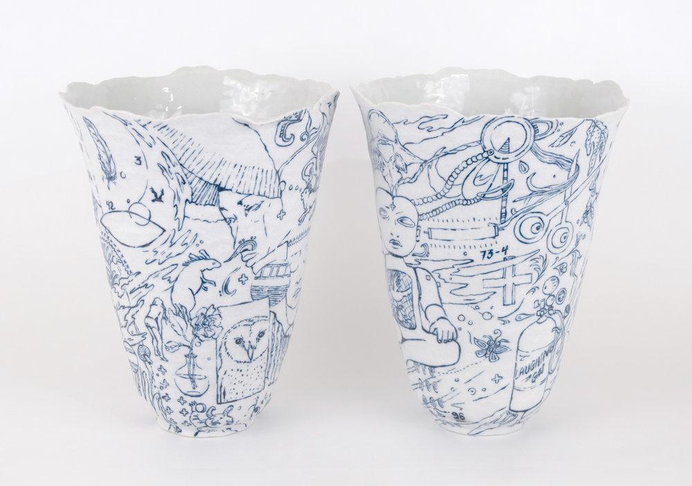 Cups  Porcelain, glaze, cobalt, 2018