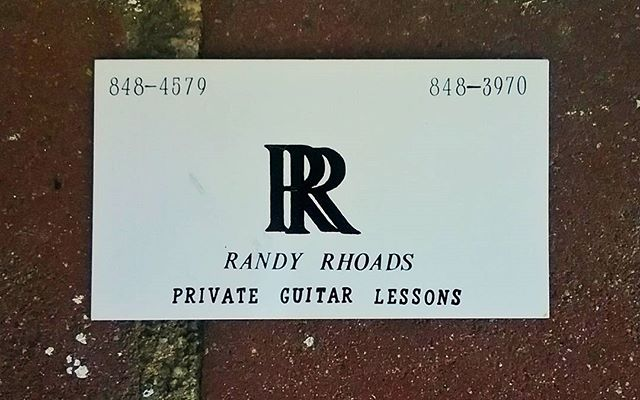 Randy Rhoads business card! Please check out the Kickstarter for Musiona school of music & Randy Rhoads Museum....... My most prized possession!  ______________________________________________ #stonemaloneart #stonemalonegallery #randyrhoads