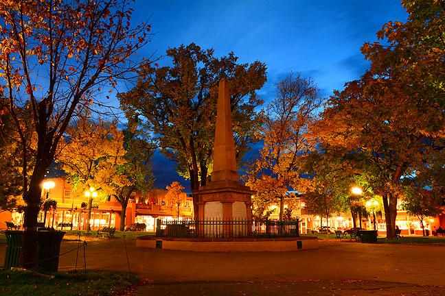 The Beautiful Santa Fe Plaza at night