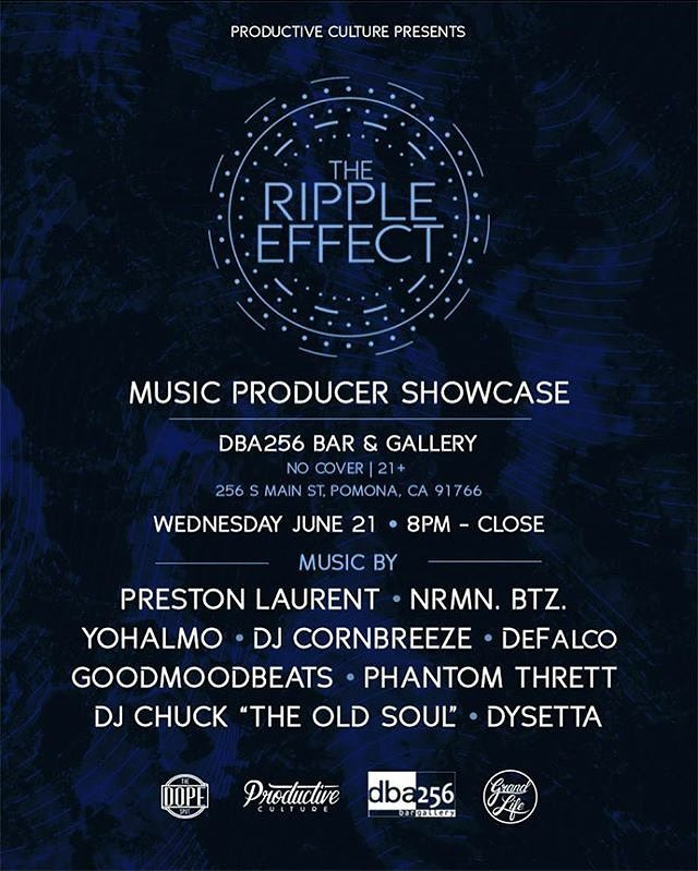 Wednesday night, downtown Pomona! I'm playing some of my music for yall. I'm on at 830. Hope to see you there!  __ #therippleeffect @productiveculture