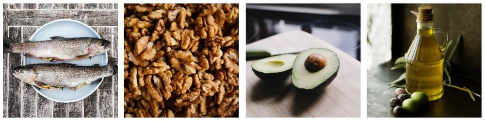 Photos by  Gregor Moser ,  Tom Hermans ,  Kelly Sikkema , and  Roberta Sorge   Monounsaturated and polyunsaturated fats: Fish, walnuts, avocado, flaxseeds, vegetable oils (corn, safflower, soybean, sunflower, olive)