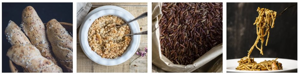 Photos by  Monika Grabkowska  and  rawpixel   Low-glycemic carbohydrates and high iron foods: Whole-grain bread, steel-cut oats, brown rice, pasta
