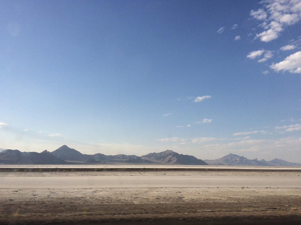 Driving across the Bonneville Salt Flats
