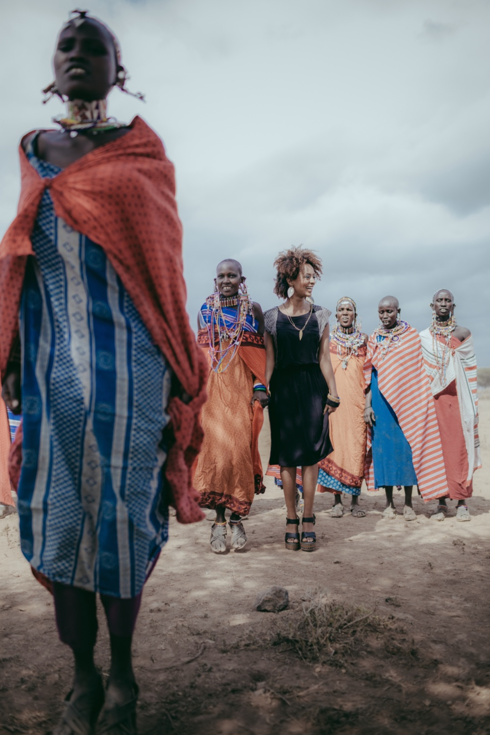 The beautiful Masai women of the Esiteti community dancing with the lovely  Zide Seleshi  White.  Photo by  Brandon Dickerson  MUA by  me  for the  Raven + Lily  Spring/Summer 2014 Lookbook.