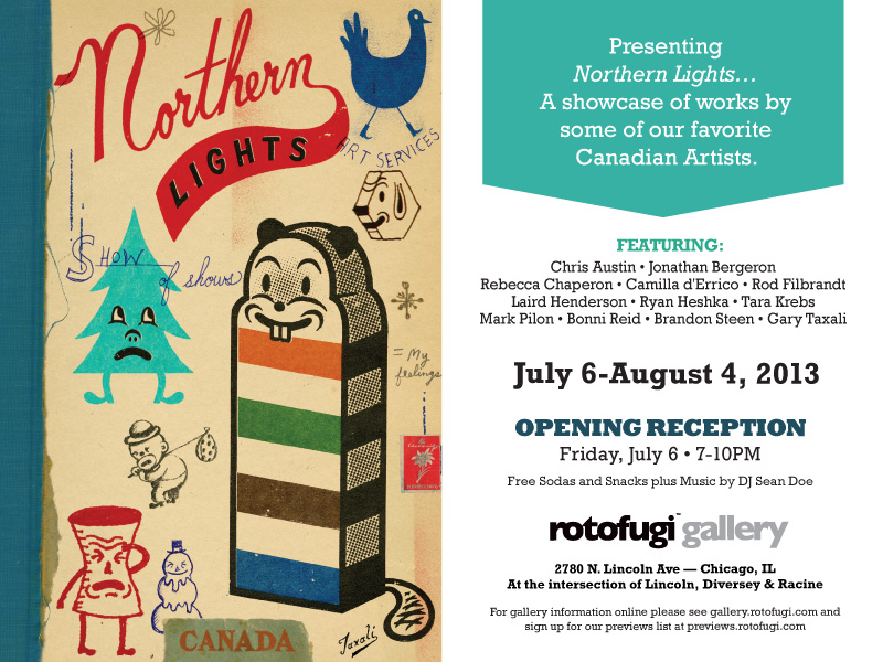 "Big Trubble art toys will be featured in Rotofugi's next group show entitled ""Northern Lights"". The show features several other Canadian Artists as well.   Rotofugi is one of the most respected toy shops and galleries in the world, so I am very happy to be a part of it.   I will be bringing along Leader, Ghost Pig and God: Incognito. Drop by if you happen to be in Chicago!"