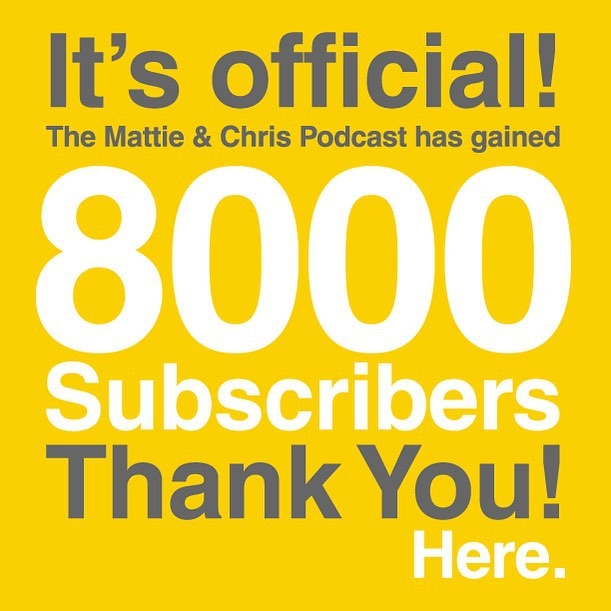 8000 subscribed, 92000 to go! Thank you for your support and continue to spread the word! #mattieandchris #1of100k