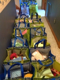 Goodie Bags filling up in the hall at Doris'.  Oh, the wonders you'll find.