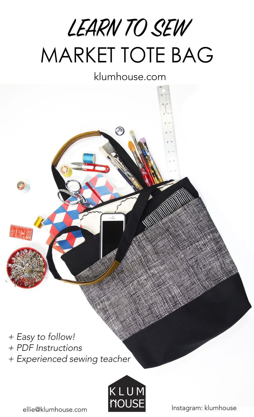 Learn to Sew: Market Tote Bag PDF Instructions