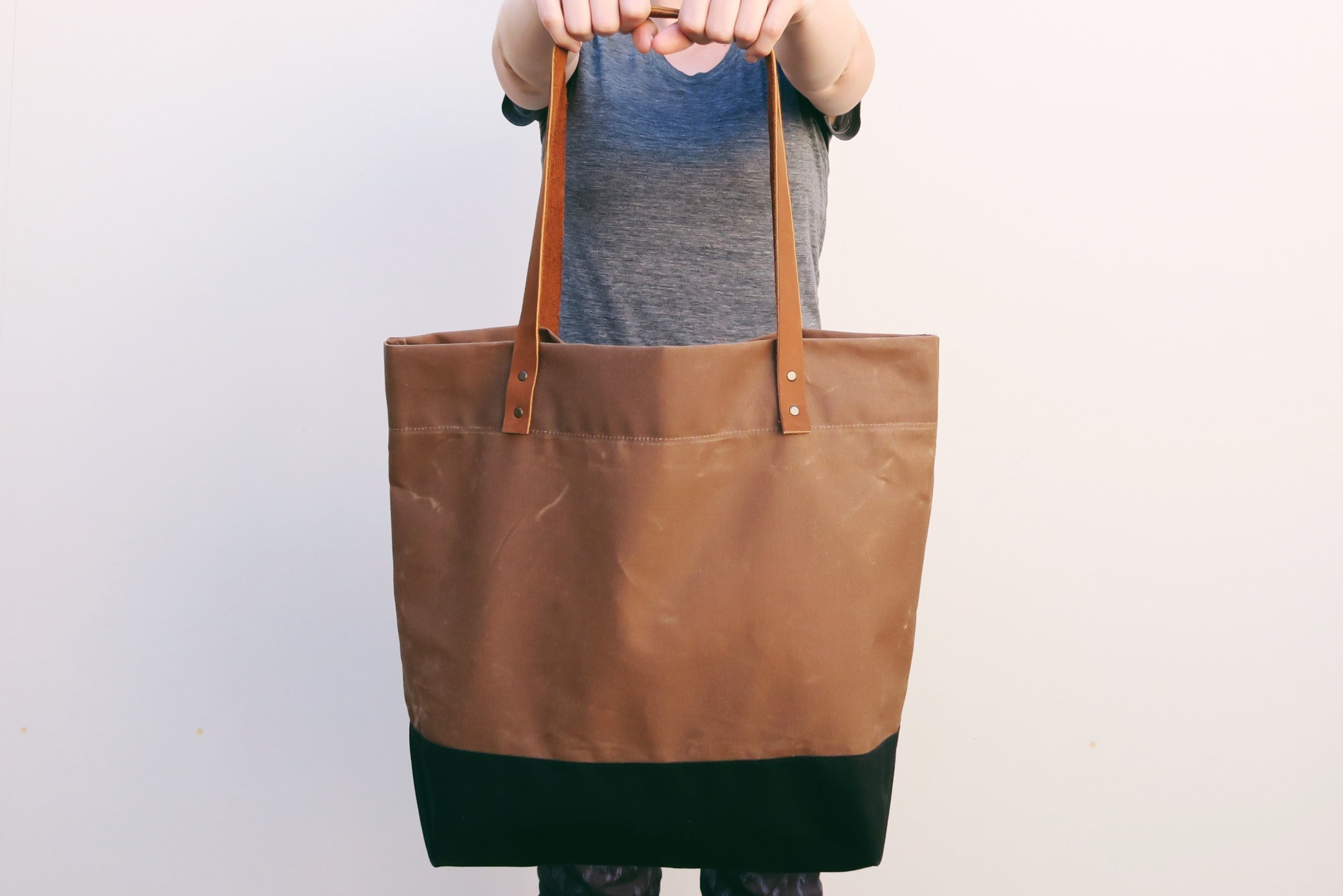 Portsmith Waxed Canvas   Leather Tote with Envelope Base — Klum ...