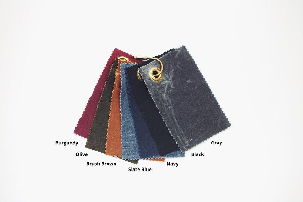 Waxed canvas fabric color choices