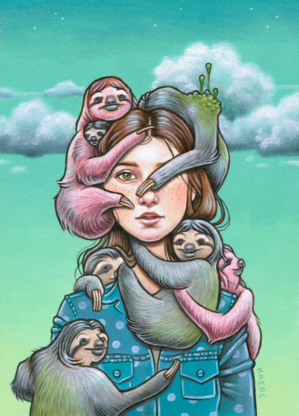 Just a Girl Covered in Sloths