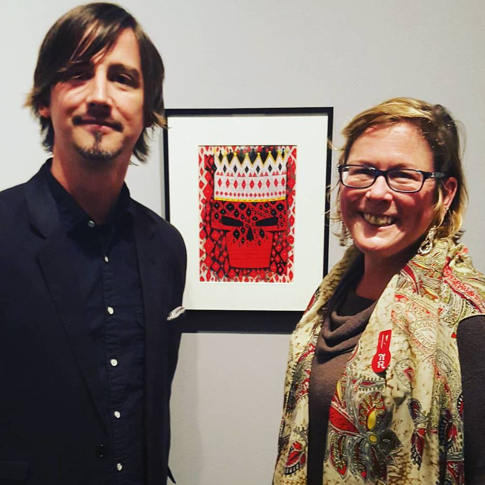 Curator, Ella Rue and I in front of my painting.