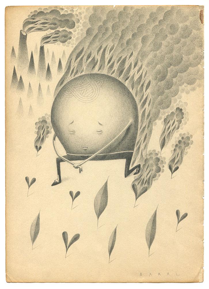 "Dim Stars: Solemn (Fire) | 8.5"" x 11"" | Graphite on Vintage Paper"