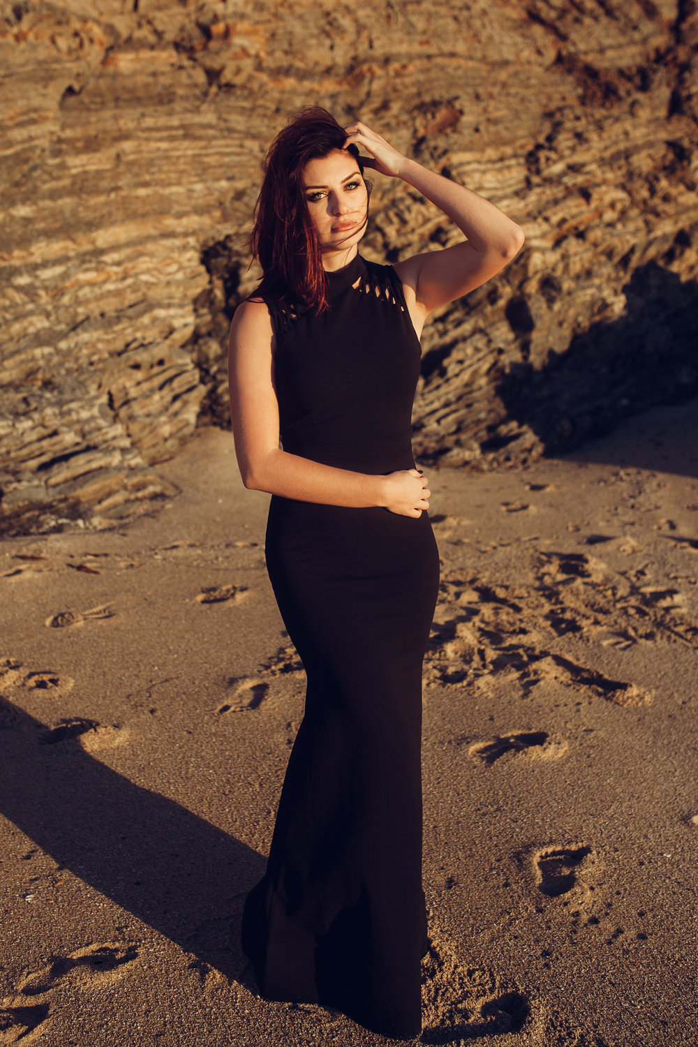 Copy of Vogue Black dress beach shoot