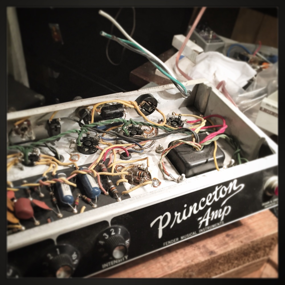 """Fender Blackface Princeton on the bench for a new """"grounded"""" power cable and a little clean up."""