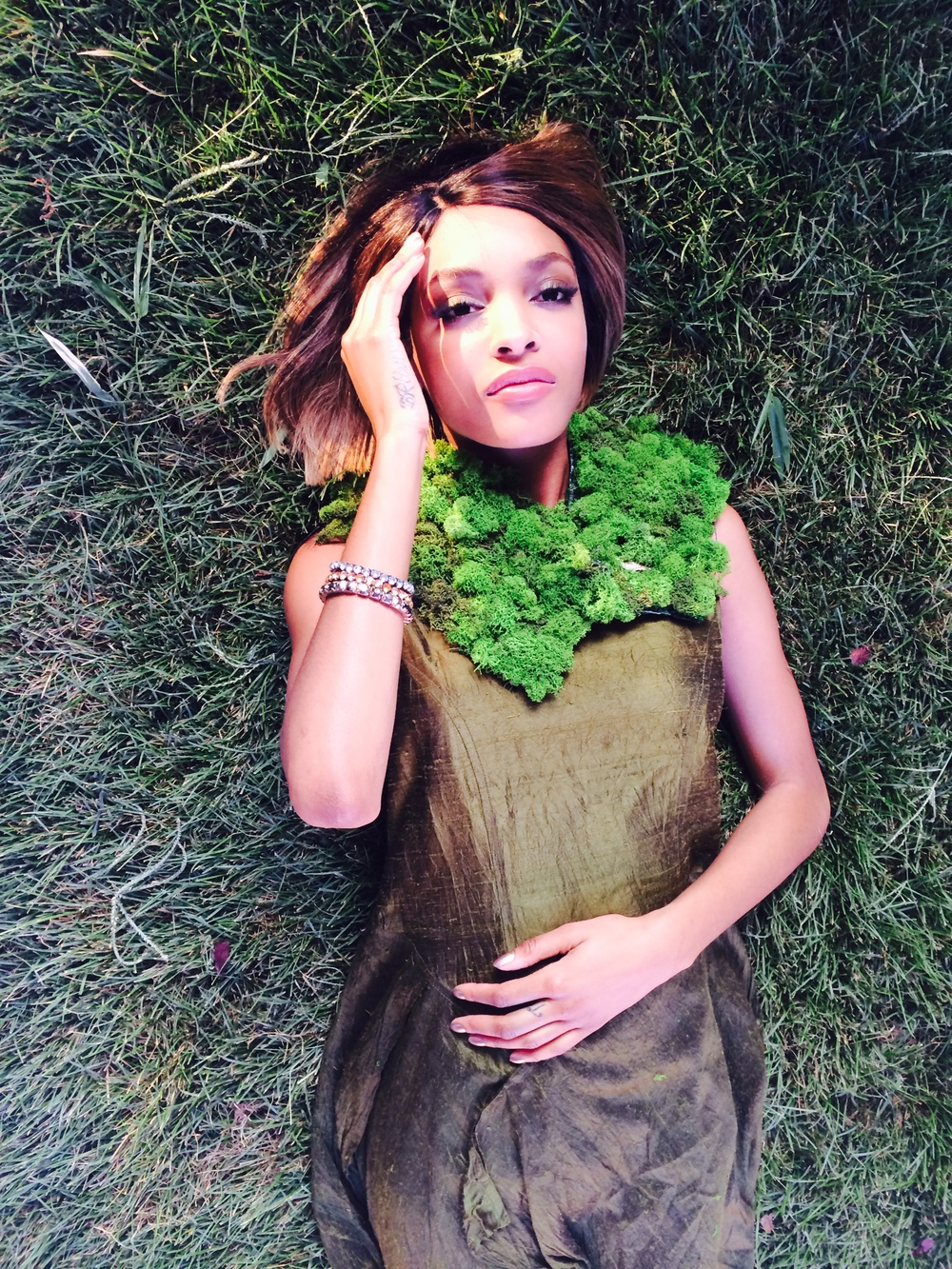 Model Jourdan Dunn wearing a neck-piece designed by yours truly Christopher Quarterman.