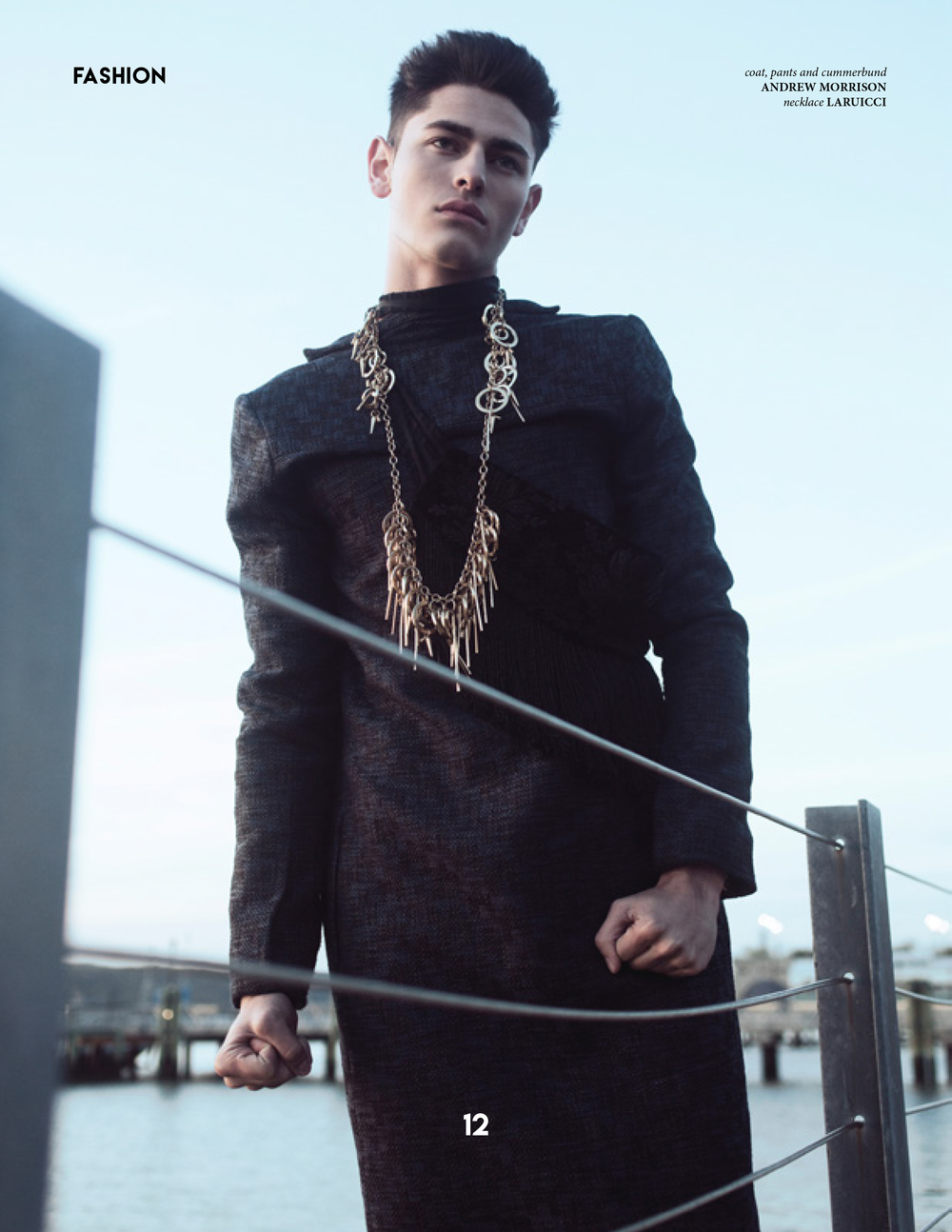 Model wears a coat by Andrew Morrison. Jewelry: Laruicci.