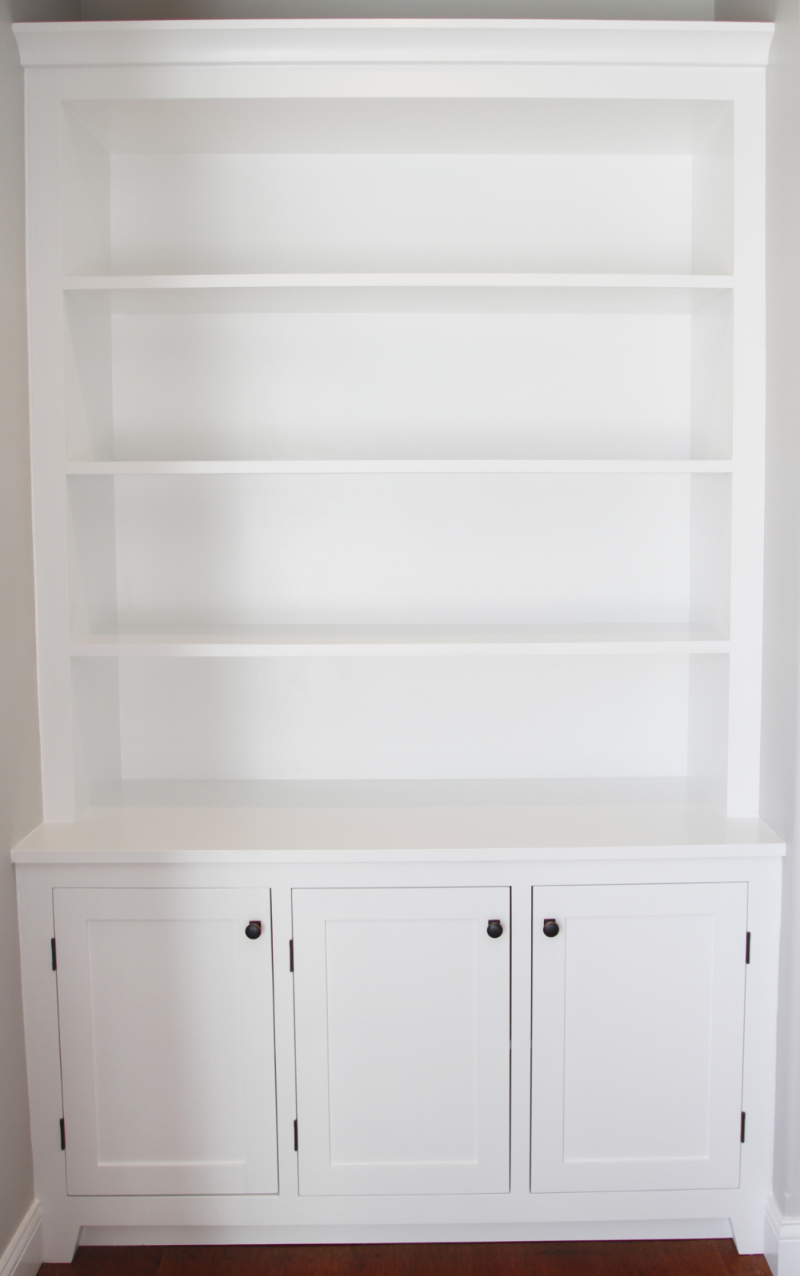 White shaker style bookshelf