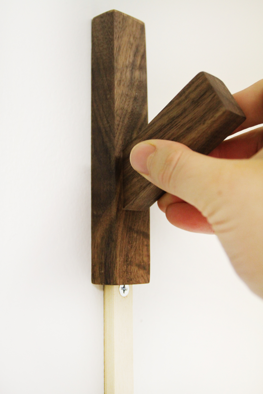 Walnut Coat Hook Slide Detail