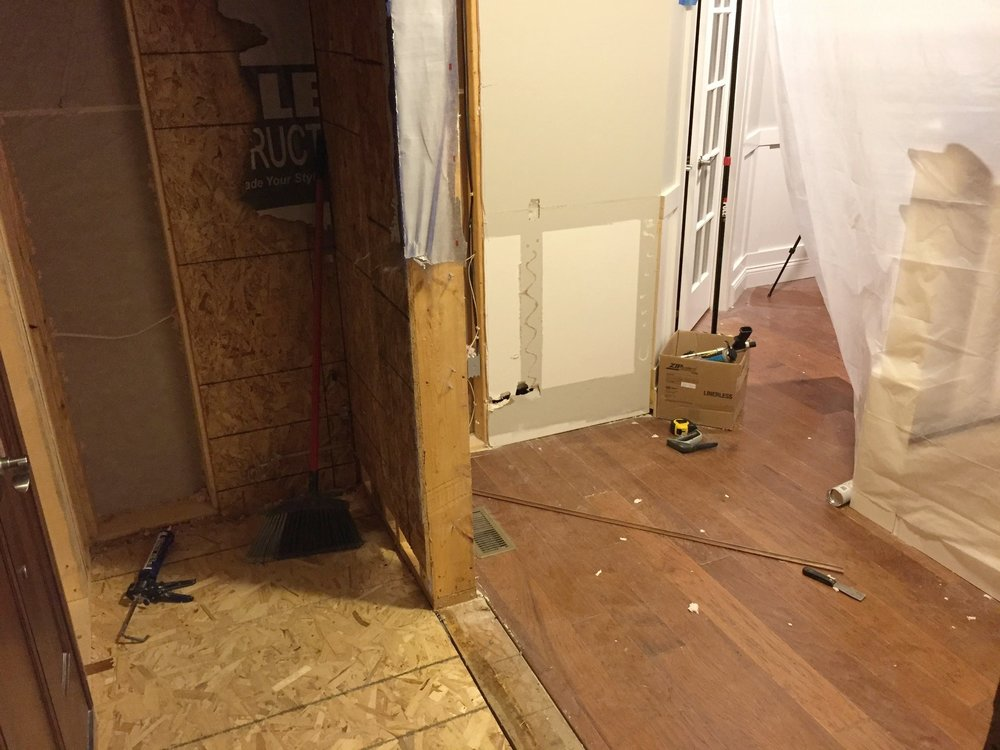 Removing the front entryway wall and floor