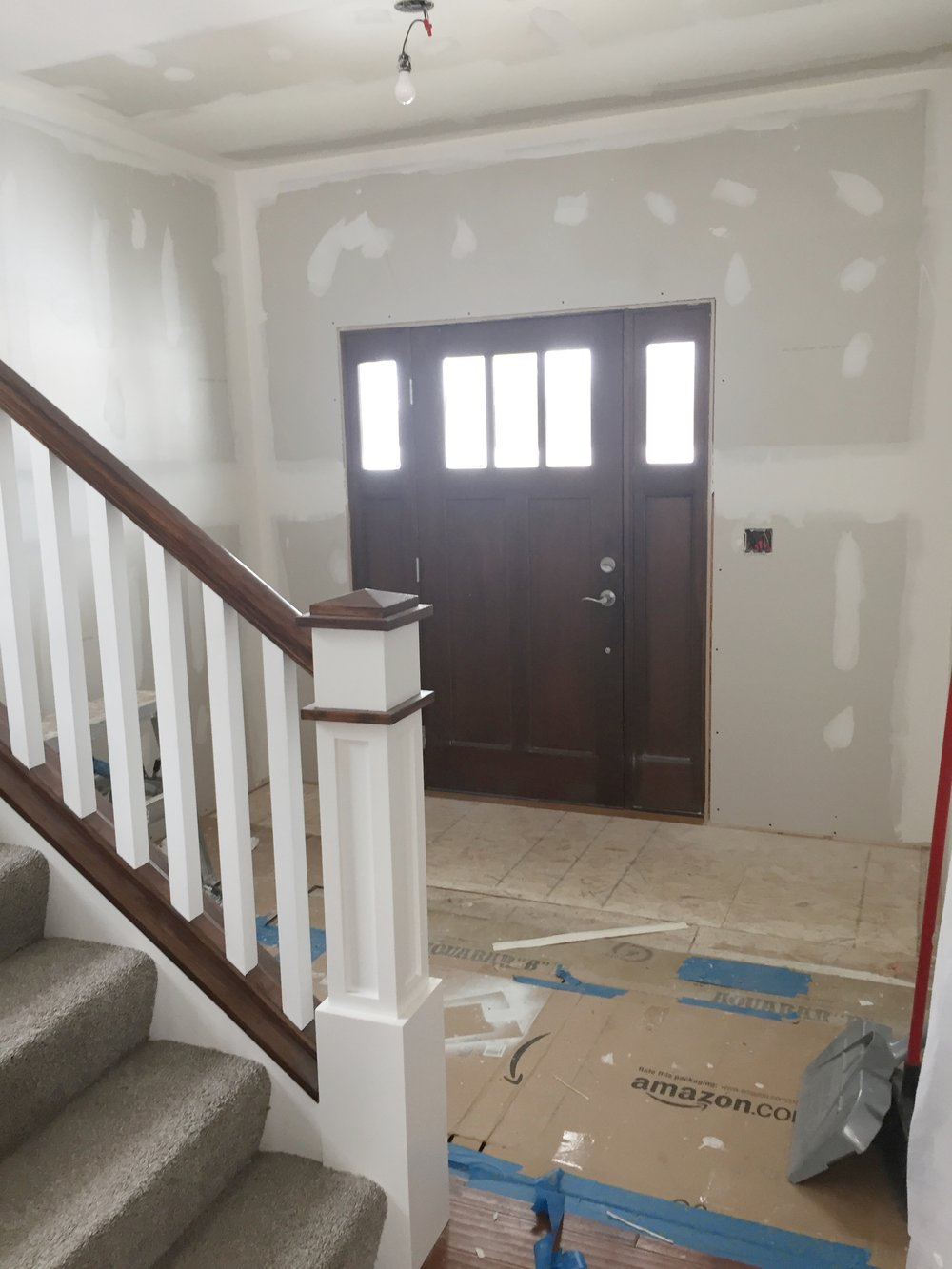 Front Entryway with Drywall finishing