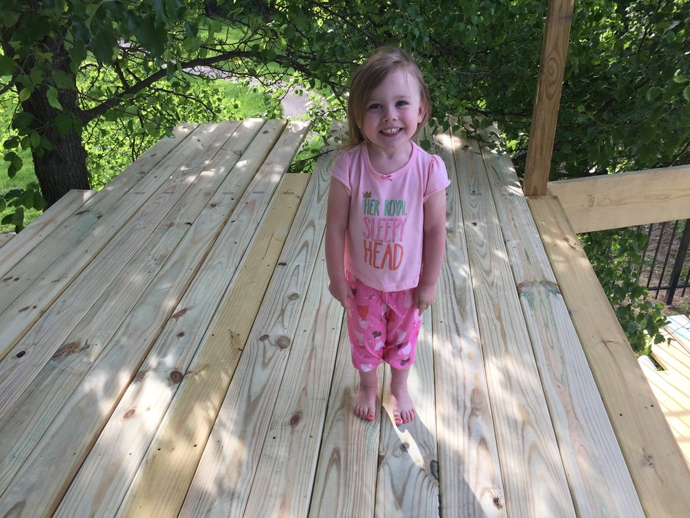 Treehouse Platform with Little Girl in Pink