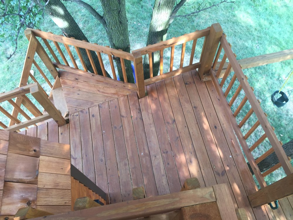 Top view looking down at the treehouse platform