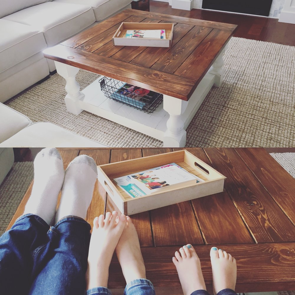 My kids really liked the farmhouse coffee table too.