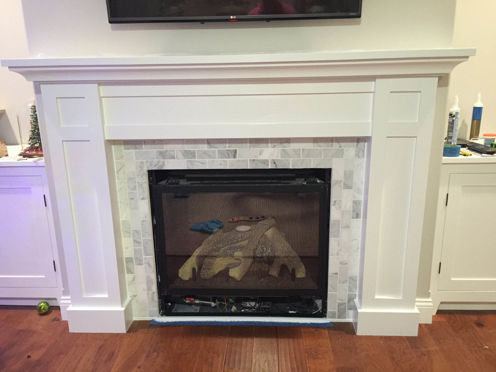 How to build a built in part 2 of 3 the fireplace mantel and shaker style fireplace surround solutioingenieria Images