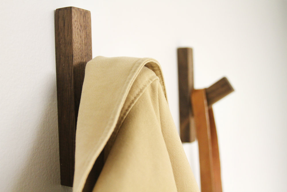 Walnut Coat Hook with Tan Jacket and Brown Leather Bag