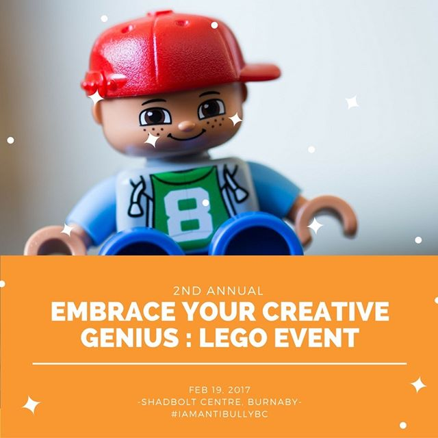 We're holding the 2nd annual Embrace Your Creative Genius #Lego Event on February 19th @ShadboltCentre in Burnaby. Check out our website to sign up as a #volunteer, #sponsor a team or be a participant.  #antibullying #antibully #vancouver #eventsinvancouver #vanevents