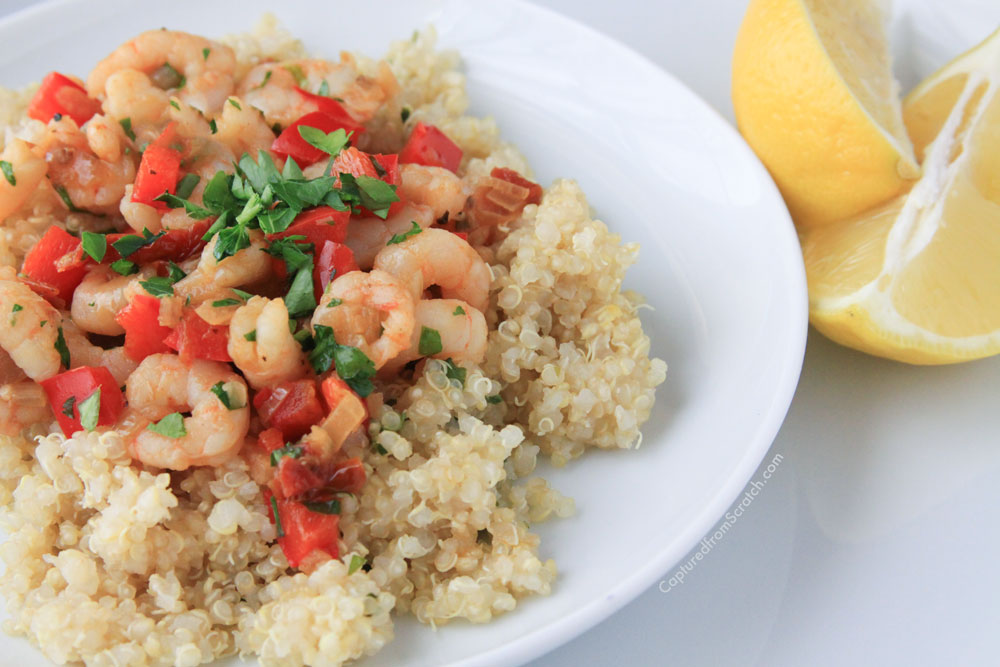 Lemon Quinoa with Sautéed Shrimp