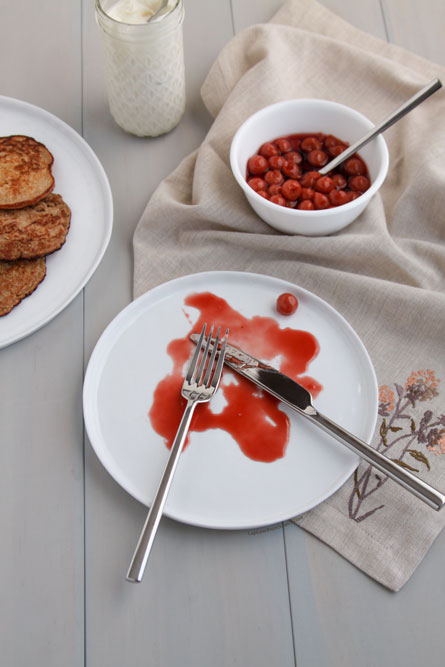 Buckwheat Blini with Creme Fraiche & Cherry Compote