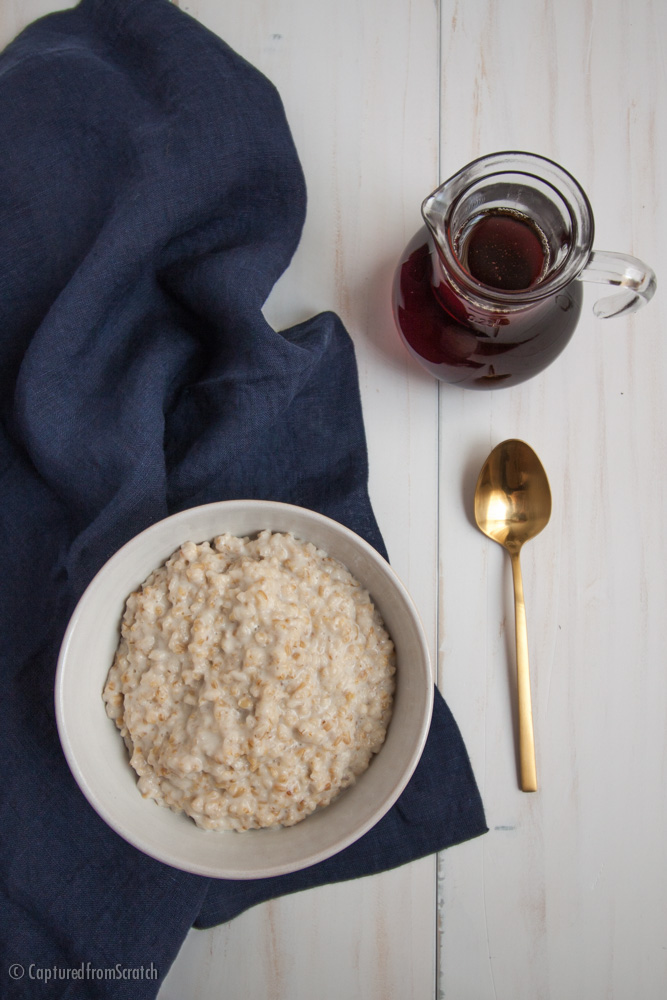 Steel Cut Oatmeal with Maple Syrup