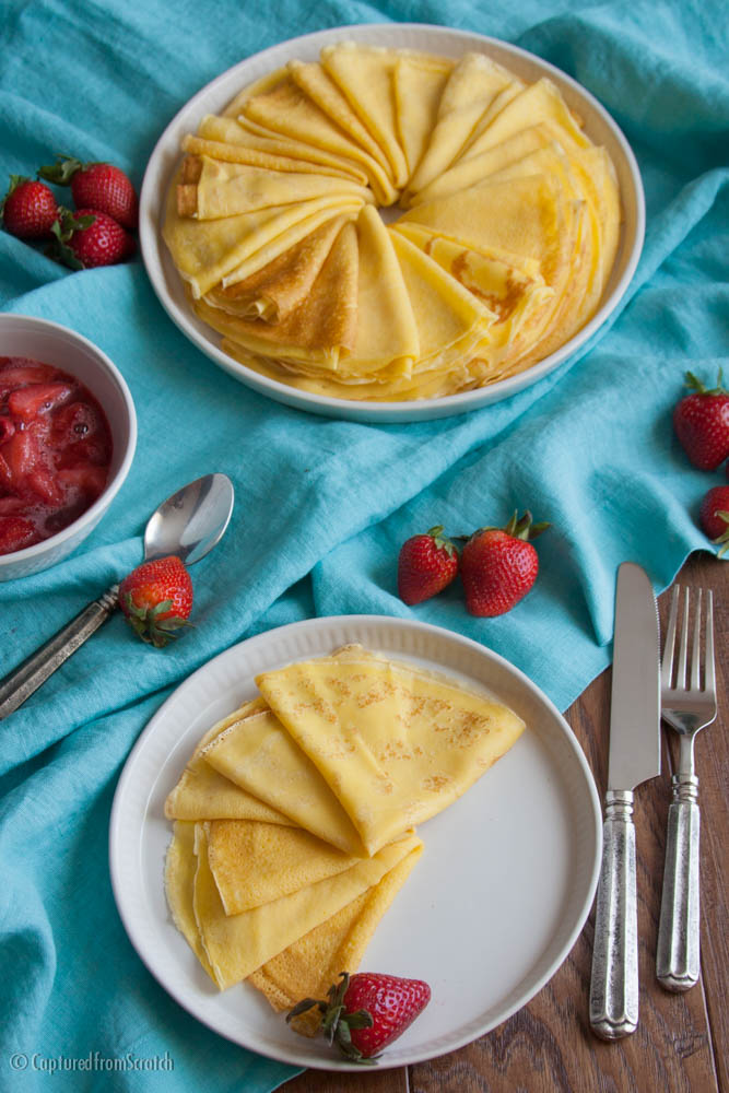 A Crepe Recipe with Fresh Strawberry Topping & Cottage Cheese
