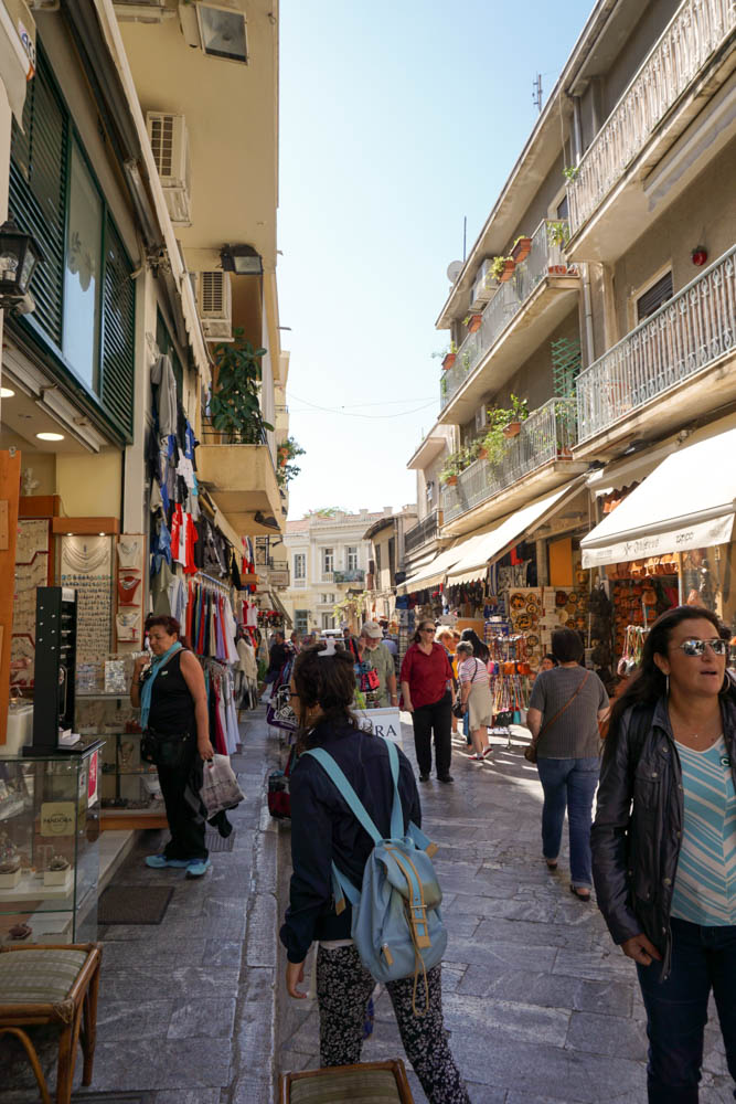 Streets and shops of Plaka, an old historical neighborhood in Athens.