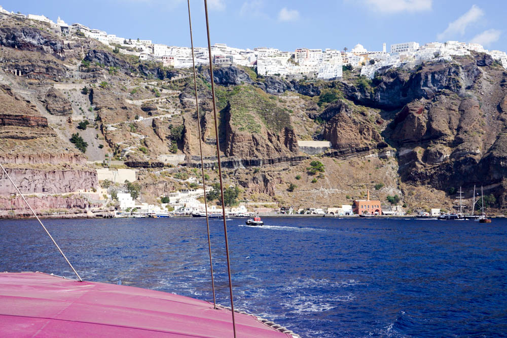 View from the boat looking up at Thira, Santorini