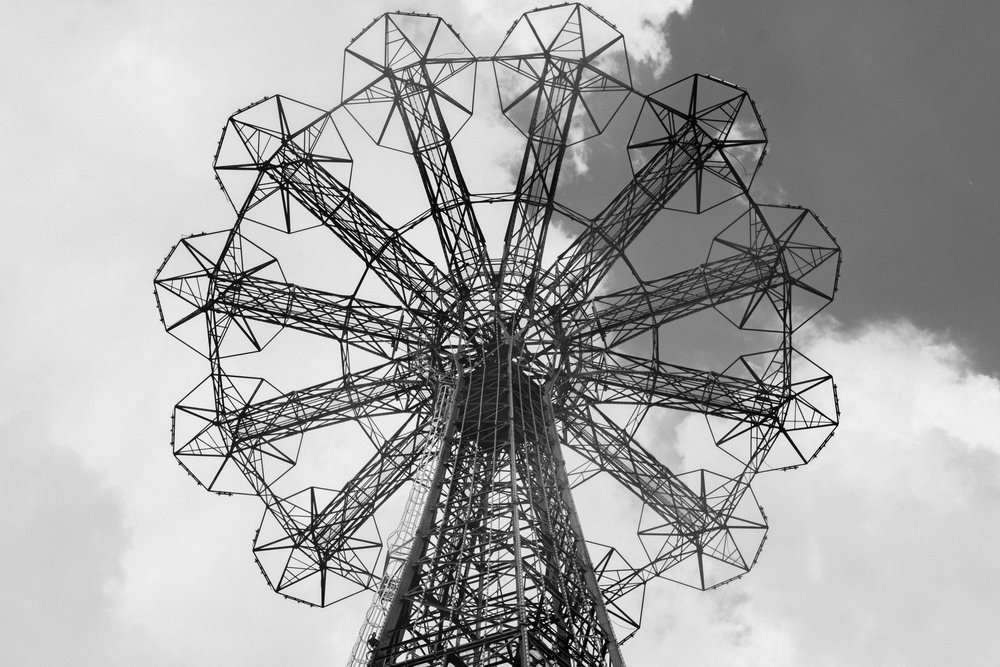 An Image of Coney Island Parachute Jump Rain Black and White Brooklyn New York Cait McCarthy Photography.JPG