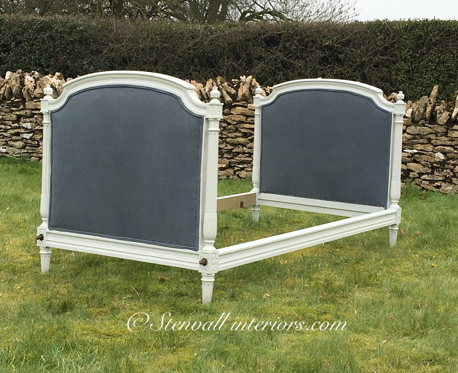 AVAILABLE! French single / daybed recovered in a faded indigo blue linen from Sarah Hardaker ,  outside measurement s 112 cm wide, 213 cm long, inside width 103 cm, height 117 cm.  £425 ( including slats)  sold