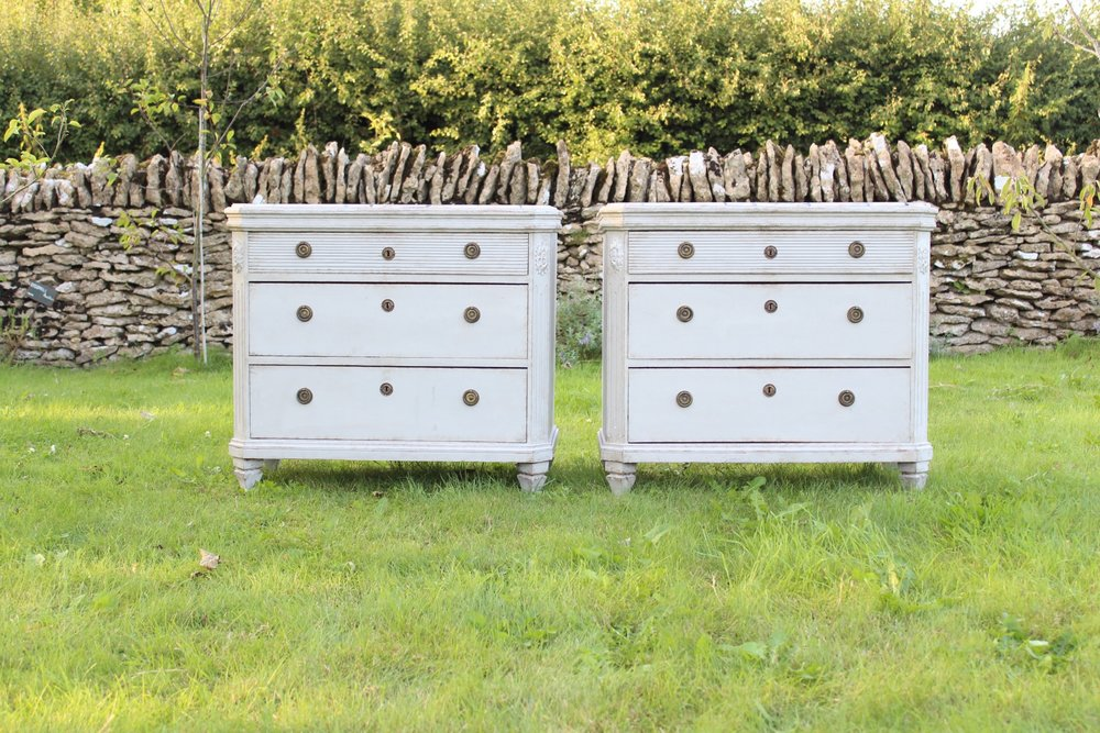Beautiful pair , reeded top drawers and faux marble effect on the top