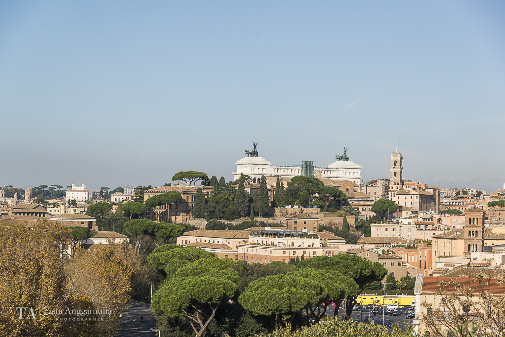 A view of Rome from the orange tree garden.