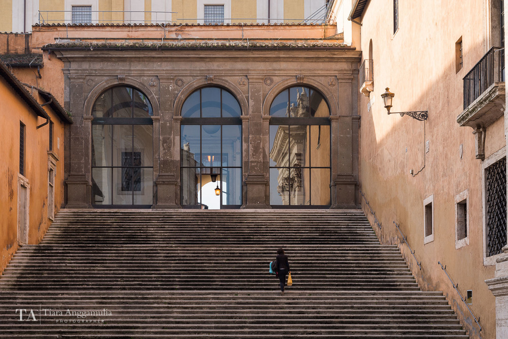 A view of the steps on Capitoline Hill.