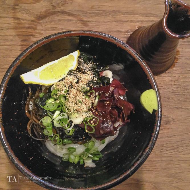Cold udon with mixed seaweed at Koya.
