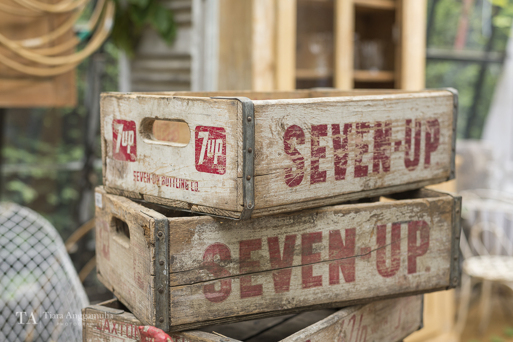 Vintage Seven-Up wooden crates.