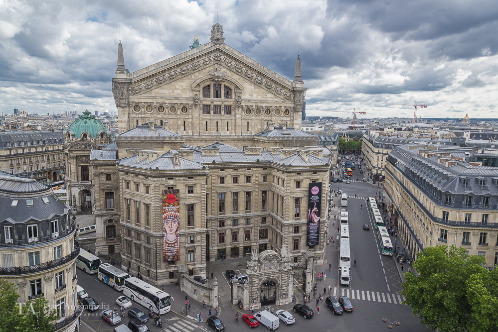 A view of Opera Garnier from the top of Printemps department store.