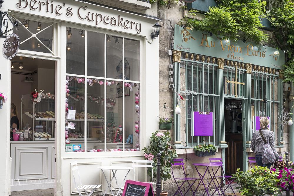 Bertie's Cupcakery and Au Vieux Paris near Notre Dame.